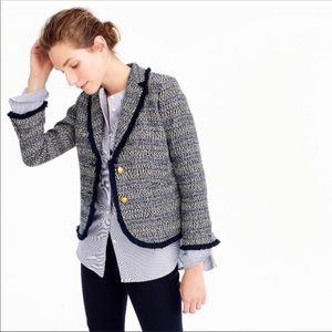 J. Crew Navy, White, & Black Tweed Button Blazer